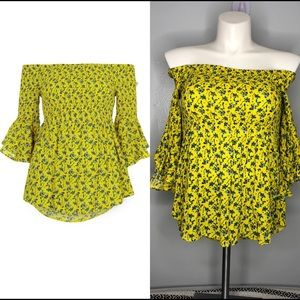 River Island yellow floral off the shoulder top 12